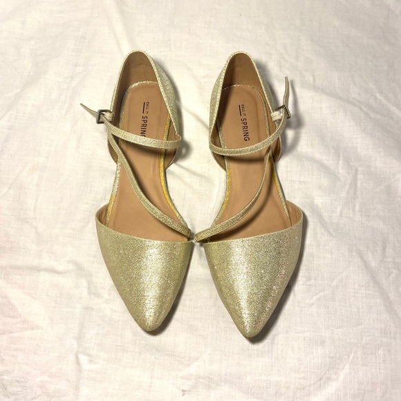 Gold Pointed Ballet Flats - Call it Spring